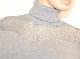 MAGLIETTA donna maglioncino GRIGIO collo alto maniche lunghe pizzo ricamo elegante pullover sottogiacca strass Z55