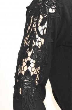 MAGLIETTA donna NERA cardigan elegante sottogiacca maniche lunghe scollo V ricamata E25