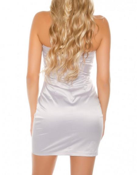 MINI ABITO ARGENTO donna vestito corto tubino lustrini elegante party dress A35