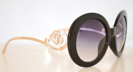 OCCHIALI da SOLE donna eleganti NERI metallo SERPENTE sexy ORO lenti tonde lunettes 120