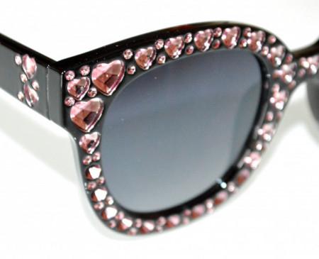 OCCHIALI da SOLE NERI donna cuori rosa lenti effetto strass cristalli BB12