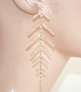 ORECCHINI A CLIPS donna ORO pendenti eleganti strass cristalli cerimonia earrings L30