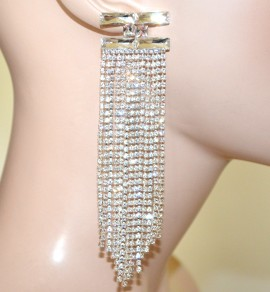 ORECCHINI ARGENTO cristalli donna fili strass pendenti lunghi sposa eleganti G52