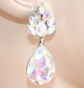 ORECCHINI ARGENTO cristalli strass donna pendenti goccia eleganti boucles L20