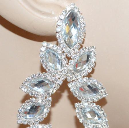 ORECCHINI ARGENTO donna strass cristalli trasparenti pendenti lunghi sposa matrimonio N20
