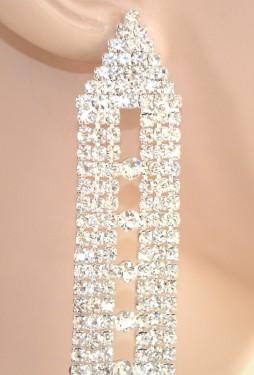 ORECCHINI argento donna strass eleganti cristalli cerimonia sposa earrings 1095