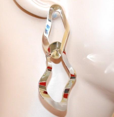 ORECCHINI argento pendenti ovali donna metallo lucido ondulati silver earrings CC127