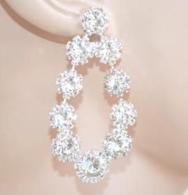 ORECCHINI ARGENTO sposa  pendenti donna cristalli strass eleganti cerimonia E200