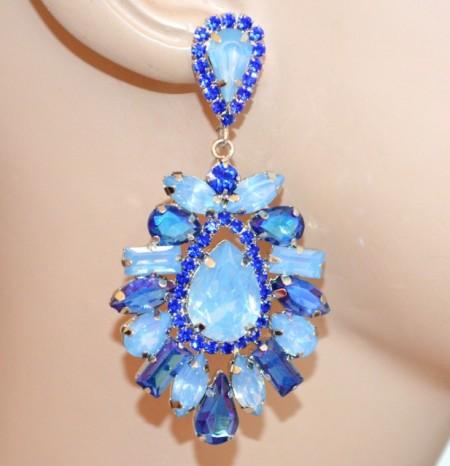 ORECCHINI BLU AZZURRI argento donna cristalli pendenti strass cerimonia earrings BB70