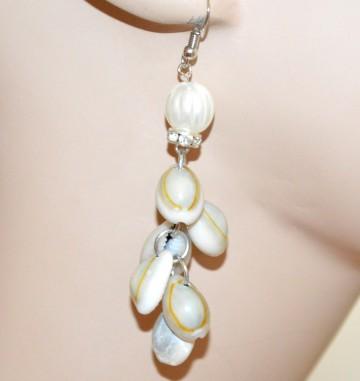 ORECCHINI CONCHIGLIE donna argento pendenti etnici strass perla ragazza CC2