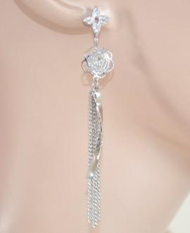 ORECCHINI donna ARGENTO fili eleganti pendenti fiore strass cristalli da cerimonia 1099