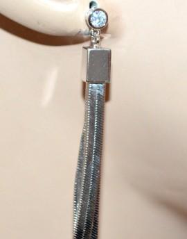 ORECCHINI donna argento pendenti fili rigidi cristallo strass earrings cercei G37