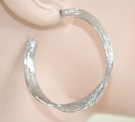 ORECCHINI donna CERCHI metallo ARGENTO lucidi satinati ragazza earrings 1125