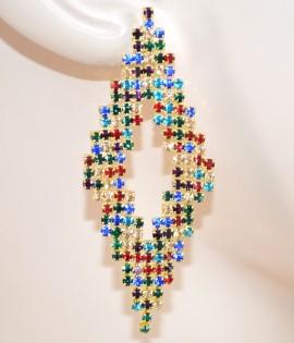 ORECCHINI donna CRISTALLI pendenti ROMBI strass multicolori eleganti da cerimonia boucles 125X