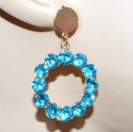 ORECCHINI donna oro strass azzurro celesti cristalli pendenti cerchi eleganti CC183