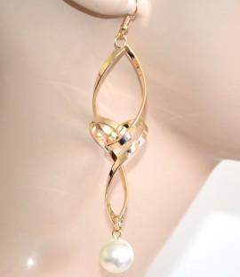 ORECCHINI donna ragazza oro pendenti lunghi perla ondulati pendientes A78