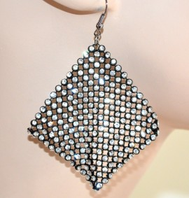 ORECCHINI donna STRASS eleganti pendenti CRISTALLI brillantini NERI earrings 1405