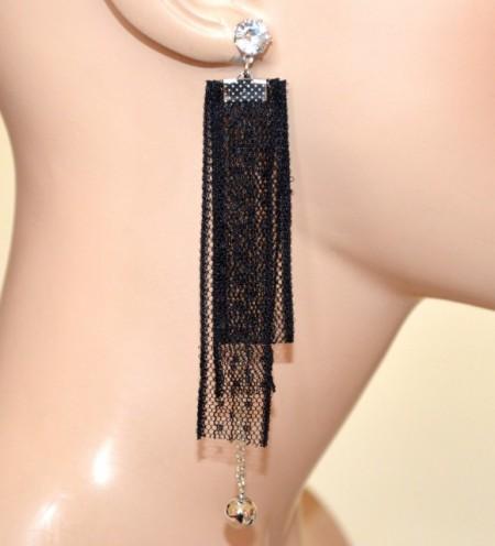 ORECCHINI NERI argento donna pendenti pizzo ricamato cristallo dark gothic CC162