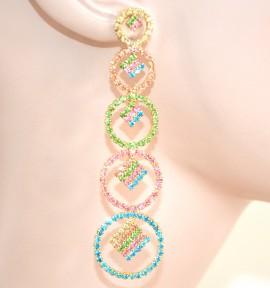 ORECCHINI ORO  AZZURRO VERDE ROSA  donna  pendenti stass cerchi  damigella  cristalli eleganti L15