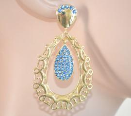 ORECCHINI ORO donna dorati pendenti STRASS AZZURRI cristalli brillantini 970