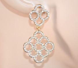 ORECCHINI ORO donna STRASS brillantini eleganti cristalli DA CERIMONIA pendenti pendientes 1010