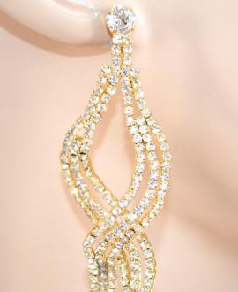 ORECCHINI ORO donna strass cristalli pendenti lunghi eleganti cerimonia F20