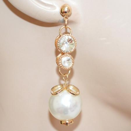 ORECCHINI PERLE donna oro dorato ciondoli pendenti charms cristalli sposa eleganti N68