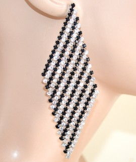 ORECCHINI STRASS NERI BIANCHI donna pendenti rombi cristalli cerimonia F160