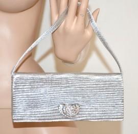 Pochette argento cuori strass donna borsello cerimonia borsa elegante brillantini 123