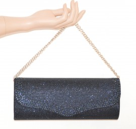 POCHETTE BLU donna borsello brillantinata borsa strass elegante cerimonia E105