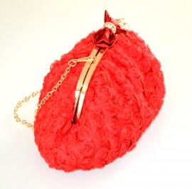 POCHETTE donna borsello ROSSO elegante ORO clutch borsetta raso da cerimonia borsa E35