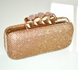 296836ebe0 POCHETTE ORO CRISTALLI donna borsello dorato CERIMONIA clutch bag borsa  fiori strass elegante borsetta 155