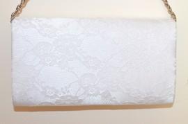 POCHETTE PIZZO BIANCA ARGENTO borsello borsa donna ricamata clutch borsetta elegante G55