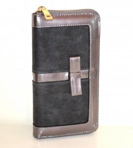PORTAFOGLIO GRIGIO donna borsello portamonete clutch eco pelle vernice zip G15