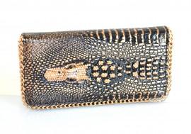 PORTAFOGLIO NERO ORO BRONZO donna borsello pochette strass clutch bag borsellino borsa F130