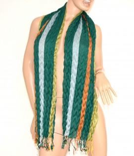 SCIARPA VERDE AZZURRO ARANCIO ELEGANTE scialle frange stola lana scarf écharpe schal шарф 50