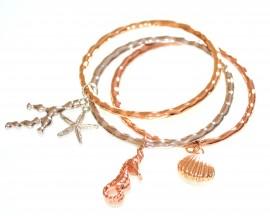 SET 3 BRACCIALI donna argento oro rosa ciondoli conchiglia stella corallo cavalluccio marino 650