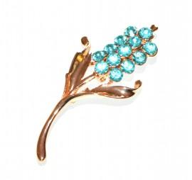 SPILLA donna oro dorata strass cristalli azzurri celesti per stola cardigan F10