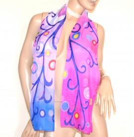 STOLA donna rosa fucsia lilla foulard elegante coprispalle cerimonia velato fantasia colorata A44