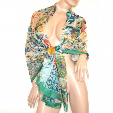 STOLA donna verde arancio maxi foulard seta coprispalle scialle sciarpa velata elegante G74