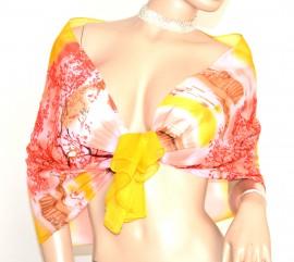 STOLA GIALLO ROSSO CORALLO foulard donna coprispalle seta velata da cerimonia elegante abito da sera H25