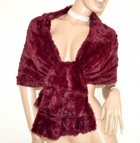 STOLA ROSSA AMARENA PELLICCIA eco donna scialle coprispalle sciarpa elegante Pelzschal G3