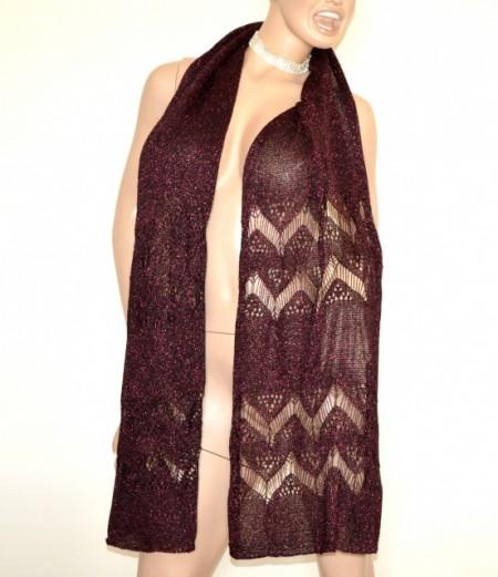 989653c00b02f8 STOLA rosso amarena maxi donna filo traforato lurex scialle sciarpa foulard coprispalle  cerimonia G58