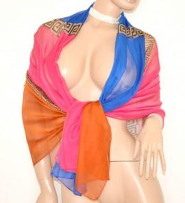 STOLA SETA donna FOULARD elegante BLU FUCSIA GIALLO BRONZO maxi coprispalle da cerimonia velato 80X