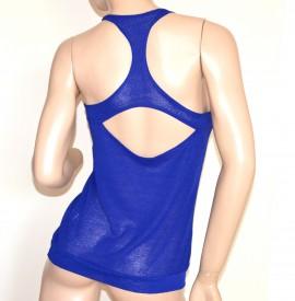TOP CANOTTA BLU t-shirt donna sexy maglietta velata sottogiacca elastica A38