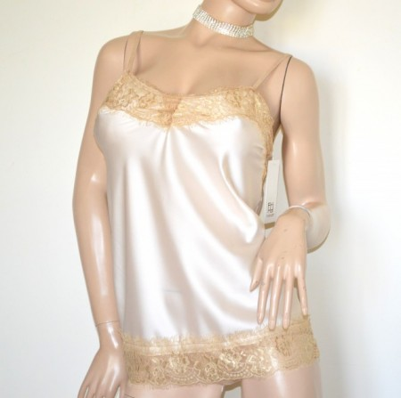 TOP CANOTTA donna BEIGE AVORIO pizzo ricamata sottogiacca raso made in Italy G91