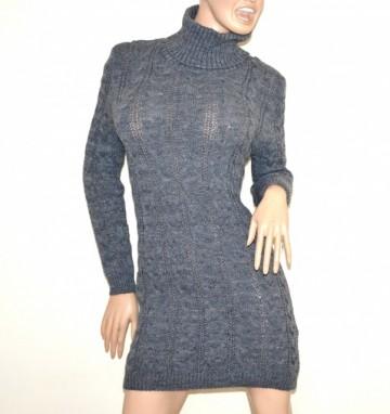 a490785201 VESTITO abito a maglia tricot donna grigio lana maxi pull maglione collo  alto made in italy G56