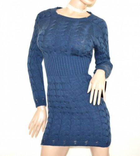 e28489f179c0 VESTITO abito in maglia donna blu lana maxi pull maglione manica lunga made  in Italy G65