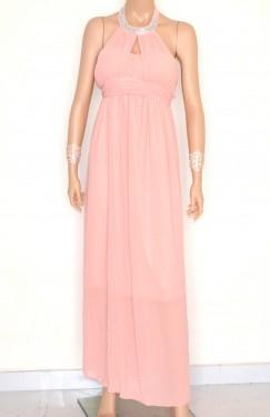 VESTITO ROSA CIPRIA donna elegante ABITO LUNGO strass seta da cerimonia dress E130