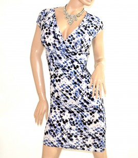 ABITO BIANCO NERO BLU vestito sexy donna manica corta a pois scollatura a V dress E138